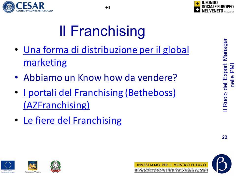 Il Ruolo dellExport Manager nelle PMI 22 Il Franchising Il Una forma di distribuzione per il global marketing Una forma di distribuzione per il global