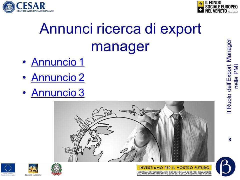 Il Ruolo dellExport Manager nelle PMI 9 Evoluzione nel tempo Da responsabile commerciale con conoscenza lingue a Export Manager: