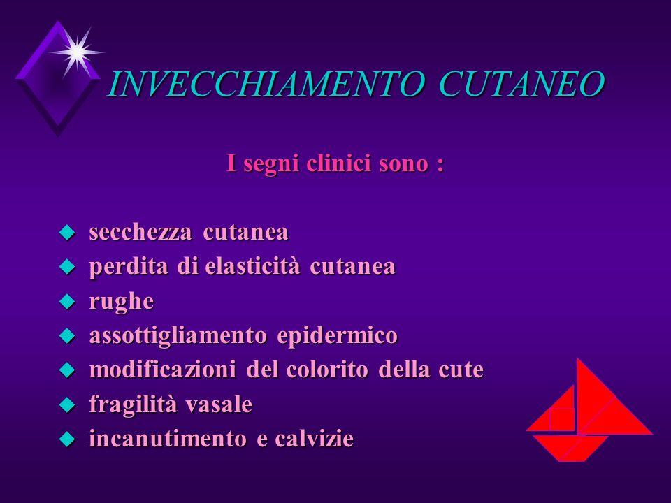 INVECCHIAMENTO CUTANEO I segni clinici sono : u secchezza cutanea u perdita di elasticità cutanea u rughe u assottigliamento epidermico u modificazion