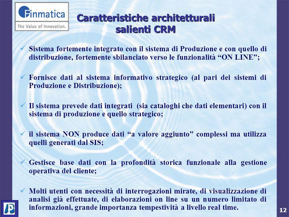 12 Caratteristiche architetturali salienti CRM Sistema fortemente integrato con il sistema di Produzione e con quello di distribuzione, fortemente sbi