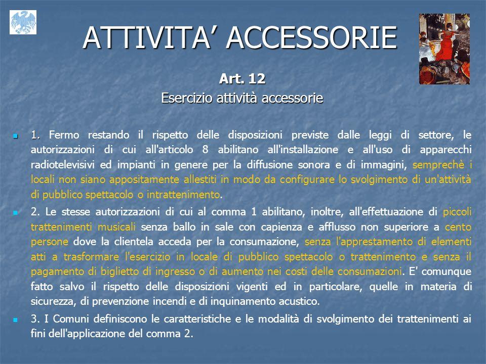 ATTIVITA ACCESSORIE Art.12 Esercizio attività accessorie 1.