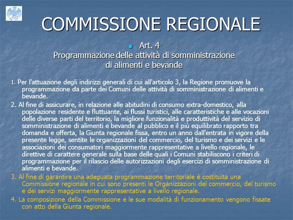 COMMISSIONE REGIONALE Art.4 Art.