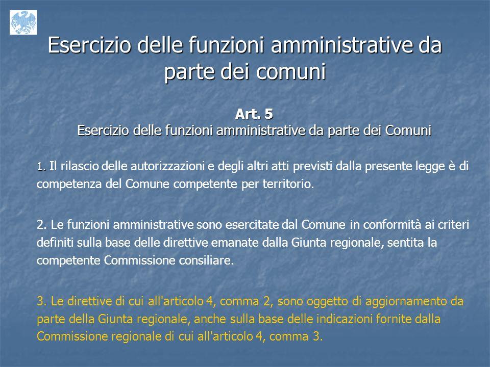 Esercizio delle funzioni amministrative da parte dei comuni Art.