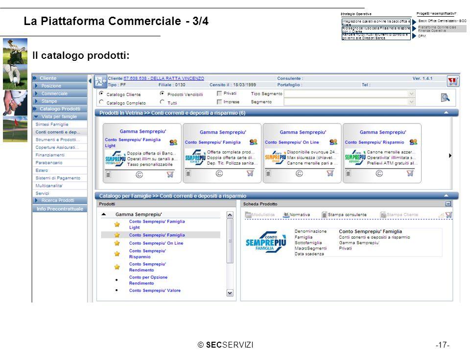 -17-© SECSERVIZI La Piattaforma Commerciale - 3/4 Il catalogo prodotti: Piattaforma Commerciale Finanza Operativa CPM Integrazione operativa on-line t