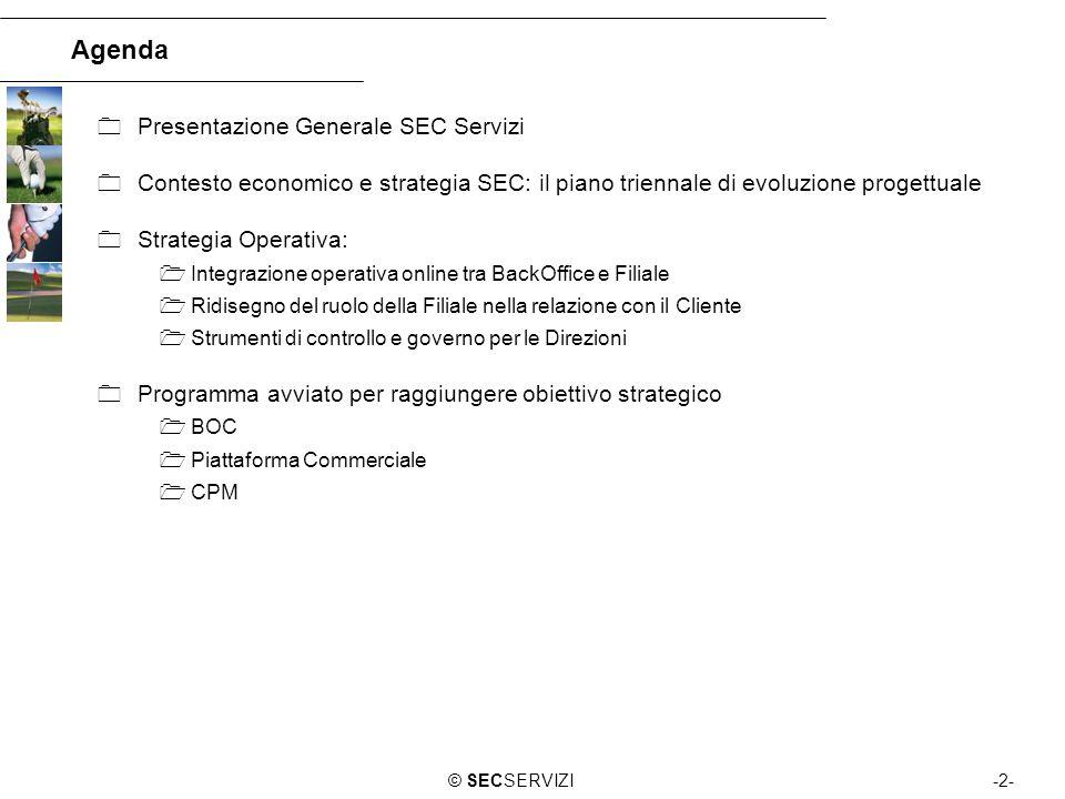 -2-© SECSERVIZI Agenda Presentazione Generale SEC Servizi Contesto economico e strategia SEC: il piano triennale di evoluzione progettuale Strategia O