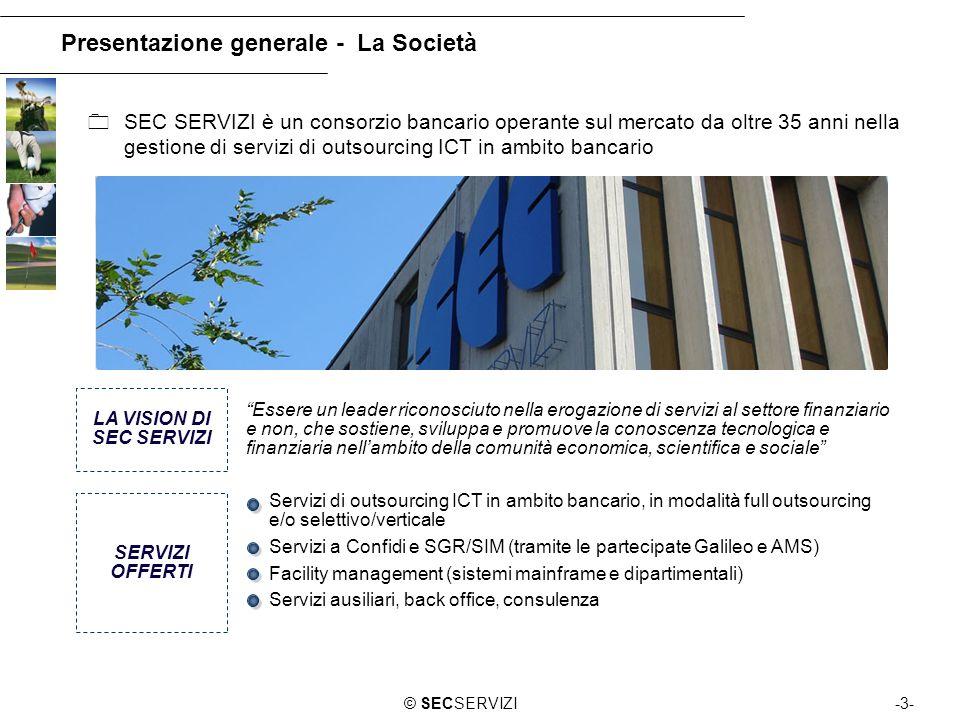 -3-© SECSERVIZI Presentazione generale - La Società SEC SERVIZI è un consorzio bancario operante sul mercato da oltre 35 anni nella gestione di serviz
