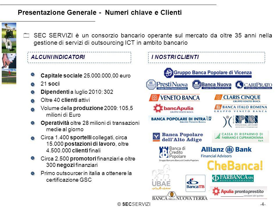 -4-© SECSERVIZI Presentazione Generale - Numeri chiave e Clienti SEC SERVIZI è un consorzio bancario operante sul mercato da oltre 35 anni nella gesti