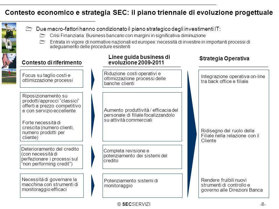 -8-© SECSERVIZI Contesto economico e strategia SEC: il piano triennale di evoluzione progettuale Contesto di riferimento Linee guida business di evolu