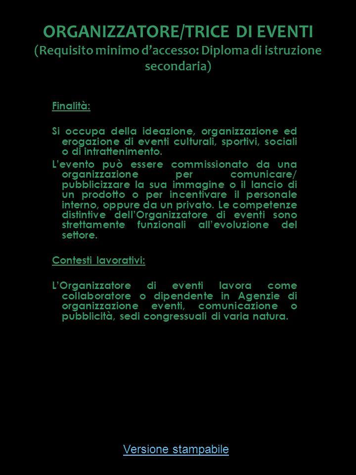 Versione stampabile ORGANIZZATORE/TRICE DI EVENTI (Requisito minimo daccesso: Diploma di istruzione secondaria) Finalità: Si occupa della ideazione, o