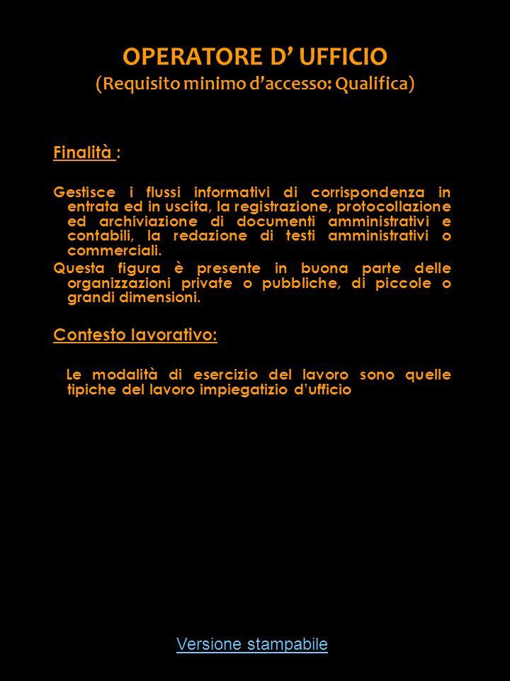 Versione stampabile OPERATORE D UFFICIO (Requisito minimo daccesso: Qualifica) Finalità : Gestisce i flussi informativi di corrispondenza in entrata e