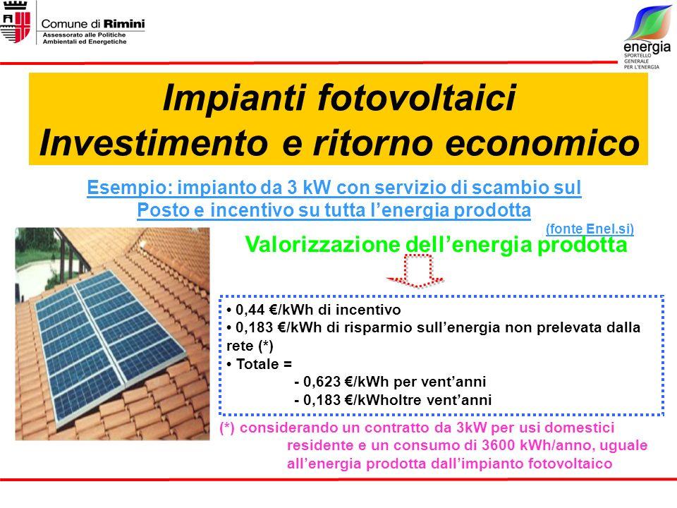 Impianti fotovoltaici Investimento e ritorno economico Esempio: impianto da 3 kW con servizio di scambio sul Posto e incentivo su tutta lenergia prodotta (fonte Enel.si) Valorizzazione dellenergia prodotta (*) considerando un contratto da 3kW per usi domestici residente e un consumo di 3600 kWh/anno, uguale allenergia prodotta dallimpianto fotovoltaico 0,44 /kWh di incentivo 0,183 /kWh di risparmio sullenergia non prelevata dalla rete (*) Totale = - 0,623 /kWh per ventanni - 0,183 /kWholtre ventanni