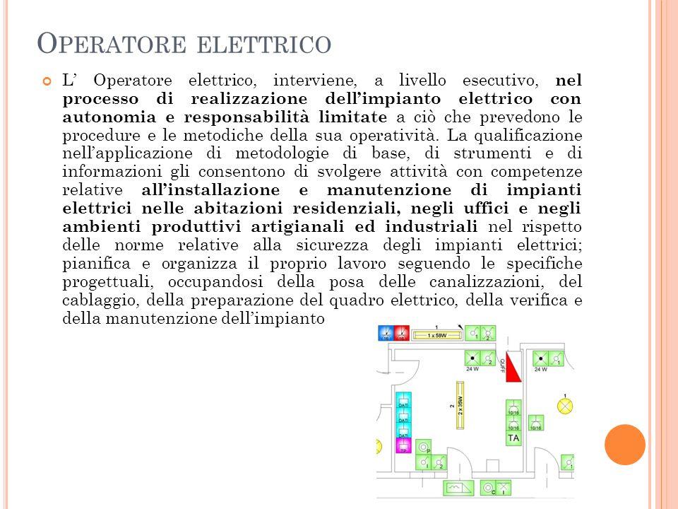 O PERATORE ELETTRICO L Operatore elettrico, interviene, a livello esecutivo, nel processo di realizzazione dellimpianto elettrico con autonomia e responsabilità limitate a ciò che prevedono le procedure e le metodiche della sua operatività.
