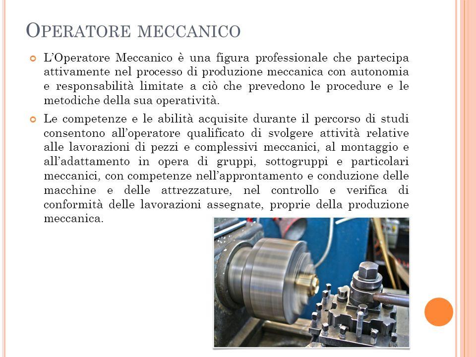 O PERATORE MECCANICO LOperatore Meccanico è una figura professionale che partecipa attivamente nel processo di produzione meccanica con autonomia e responsabilità limitate a ciò che prevedono le procedure e le metodiche della sua operatività.