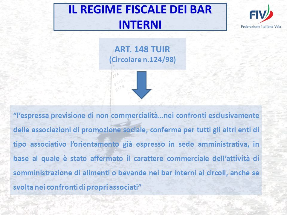 IL REGIME FISCALE DEI BAR INTERNI ART.