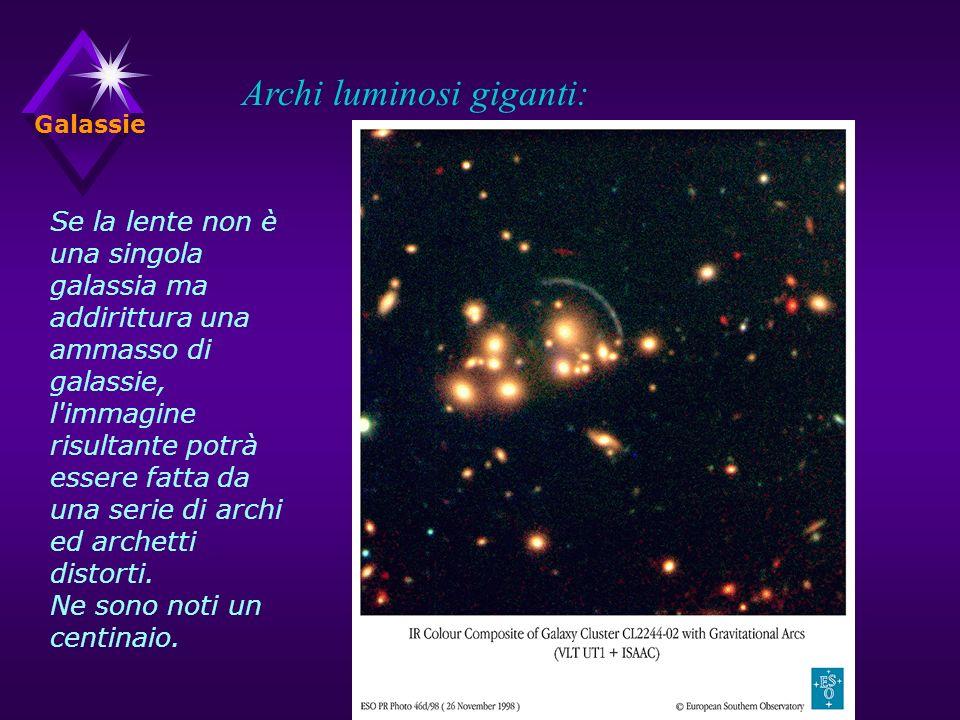 Galassie Archi luminosi giganti: Se la lente non è una singola galassia ma addirittura una ammasso di galassie, l immagine risultante potrà essere fatta da una serie di archi ed archetti distorti.