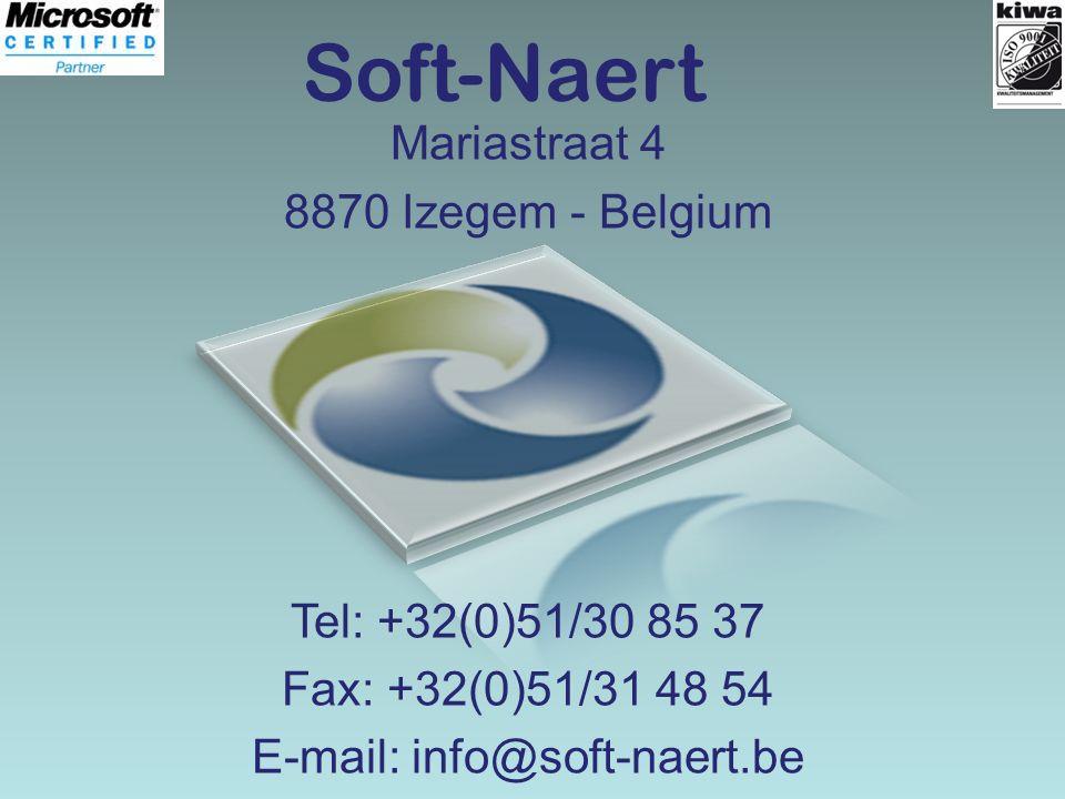 Soft-Naert Mariastraat 4 8870 Izegem - Belgium Tel: +32(0)51/30 85 37 Fax: +32(0)51/31 48 54 E-mail: info@soft-naert.be