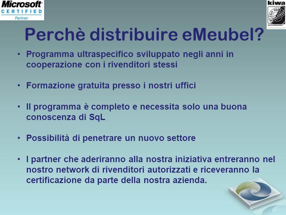 Perchè distribuire eMeubel? Programma ultraspecifico sviluppato negli anni in cooperazione con i rivenditori stessi Formazione gratuita presso i nostr