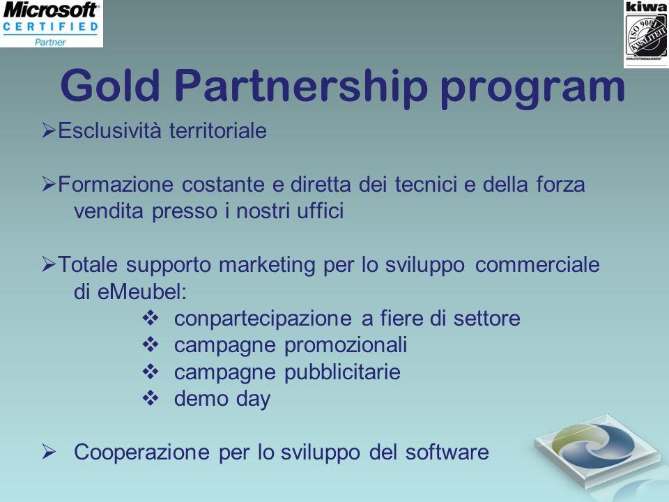 Gold Partnership program Esclusività territoriale Formazione costante e diretta dei tecnici e della forza vendita presso i nostri uffici Totale suppor