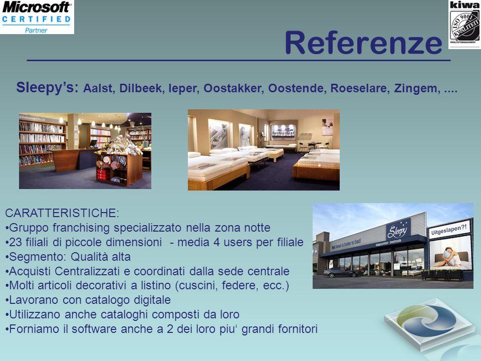 Referenze Sleepys: Aalst, Dilbeek, Ieper, Oostakker, Oostende, Roeselare, Zingem,.... CARATTERISTICHE: Gruppo franchising specializzato nella zona not