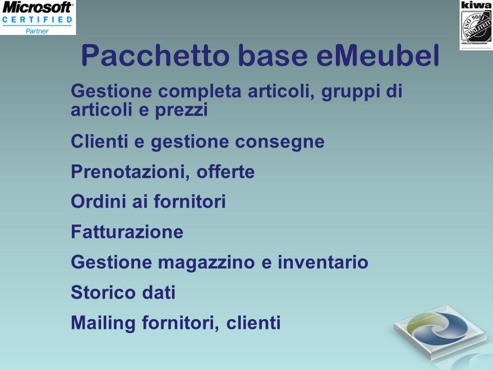 Pacchetto base eMeubel Gestione completa articoli, gruppi di articoli e prezzi Clienti e gestione consegne Prenotazioni, offerte Ordini ai fornitori F