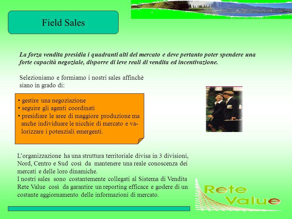 Field Sales La forza vendita presidia i quadranti alti del mercato e deve pertanto poter spendere una forte capacità negoziale, disporre di leve reali