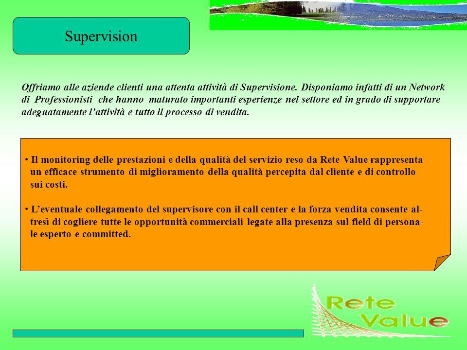 Supervision Offriamo alle aziende clienti una attenta attività di Supervisione. Disponiamo infatti di un Network di Professionisti che hanno maturato
