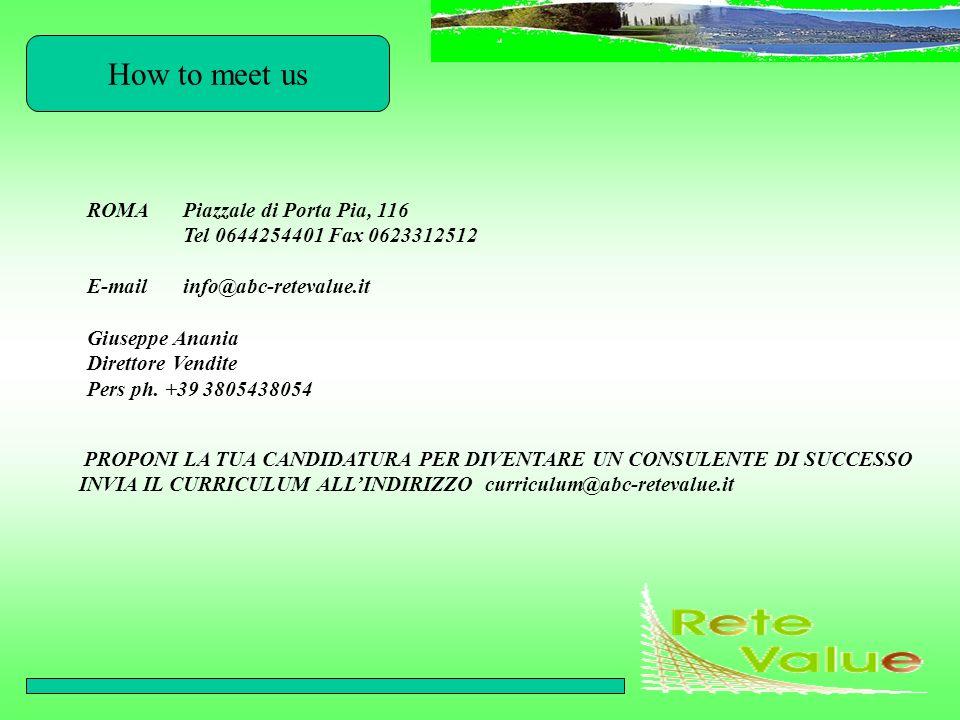 How to meet us ROMAPiazzale di Porta Pia, 116 Tel 0644254401 Fax 0623312512 E-mailinfo@abc-retevalue.it Giuseppe Anania Direttore Vendite Pers ph. +39