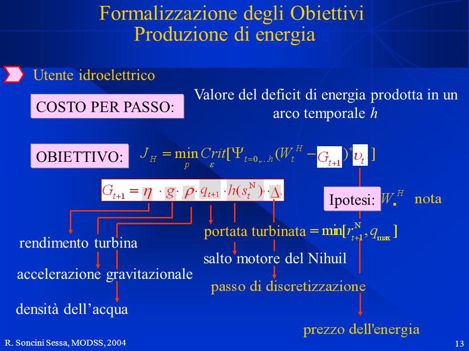R. Soncini Sessa, MODSS, 2004 13 Utente idroelettrico COSTO PER PASSO: Valore del deficit di energia prodotta in un arco temporale h OBIETTIVO: rendim
