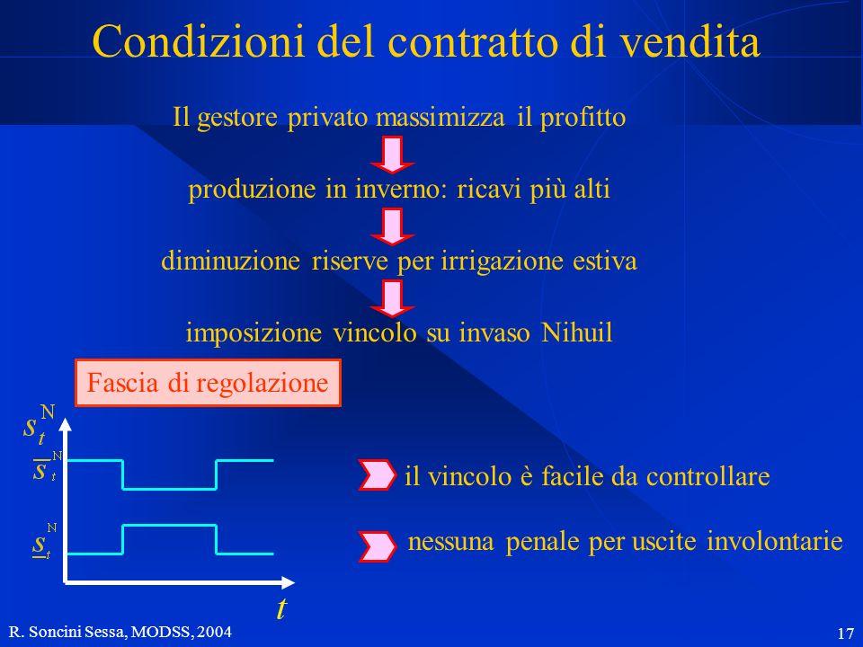 R. Soncini Sessa, MODSS, 2004 17 Condizioni del contratto di vendita Il gestore privato massimizza il profitto Fascia di regolazione il vincolo è faci