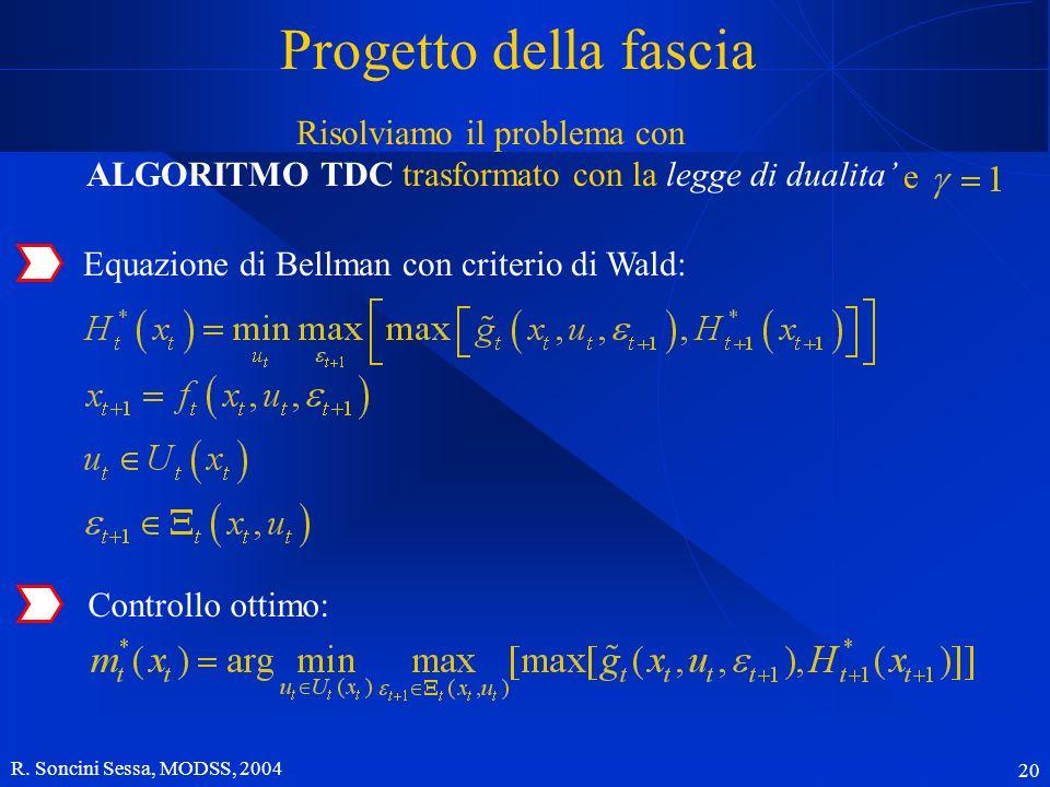 R. Soncini Sessa, MODSS, 2004 20 Progetto della fascia Equazione di Bellman con criterio di Wald: Controllo ottimo: Risolviamo il problema con ALGORIT