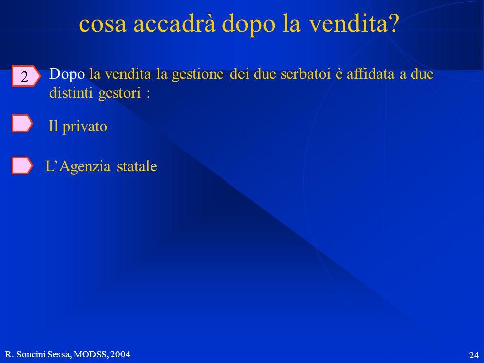 R. Soncini Sessa, MODSS, 2004 24 cosa accadrà dopo la vendita? Dopo la vendita la gestione dei due serbatoi è affidata a due distinti gestori : 2 LAge
