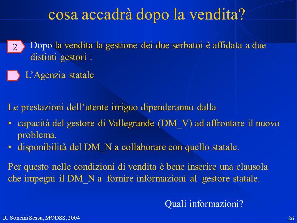 R. Soncini Sessa, MODSS, 2004 26 cosa accadrà dopo la vendita? Le prestazioni dellutente irriguo dipenderanno dalla LAgenzia statale capacità del gest