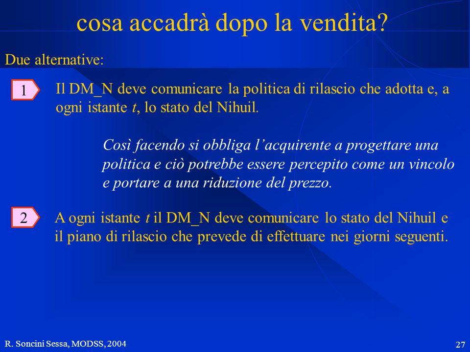 R. Soncini Sessa, MODSS, 2004 27 cosa accadrà dopo la vendita? 1 Il DM_N deve comunicare la politica di rilascio che adotta e, a ogni istante t, lo st