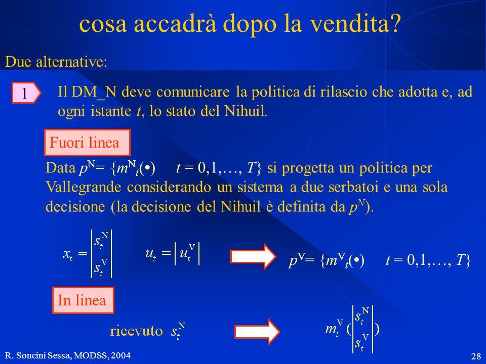 R. Soncini Sessa, MODSS, 2004 28 cosa accadrà dopo la vendita? Data p N = {m N t () t = 0,1,…, T} si progetta un politica per Vallegrande considerando
