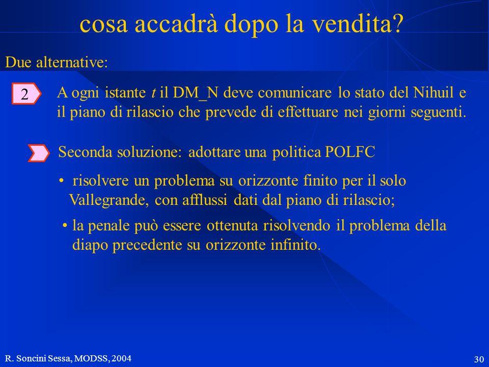 R. Soncini Sessa, MODSS, 2004 30 cosa accadrà dopo la vendita? Seconda soluzione: adottare una politica POLFC risolvere un problema su orizzonte finit