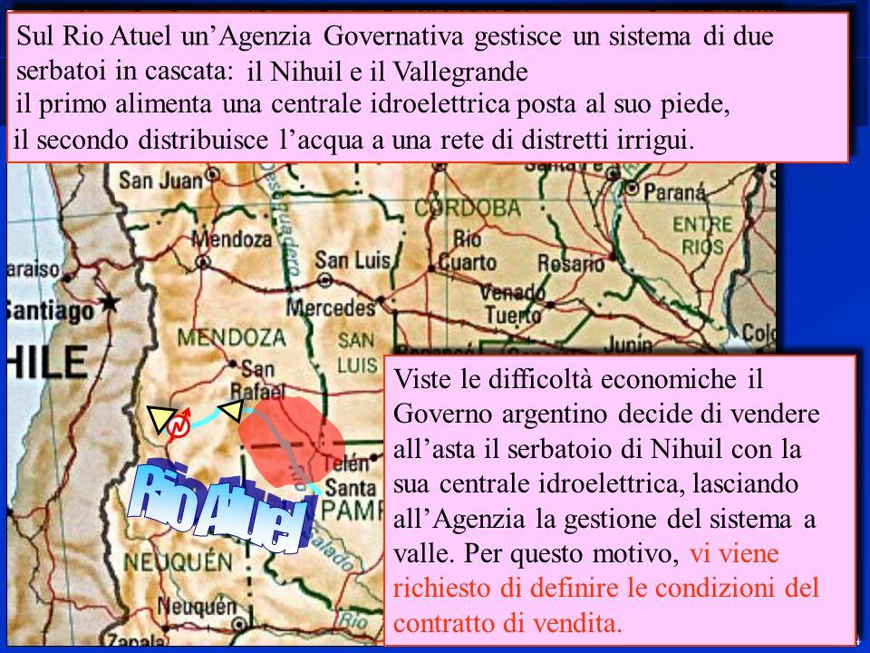 4 Sul Rio Atuel unAgenzia Governativa gestisce un sistema di due serbatoi in cascata: Viste le difficoltà economiche il Governo argentino decide di ve
