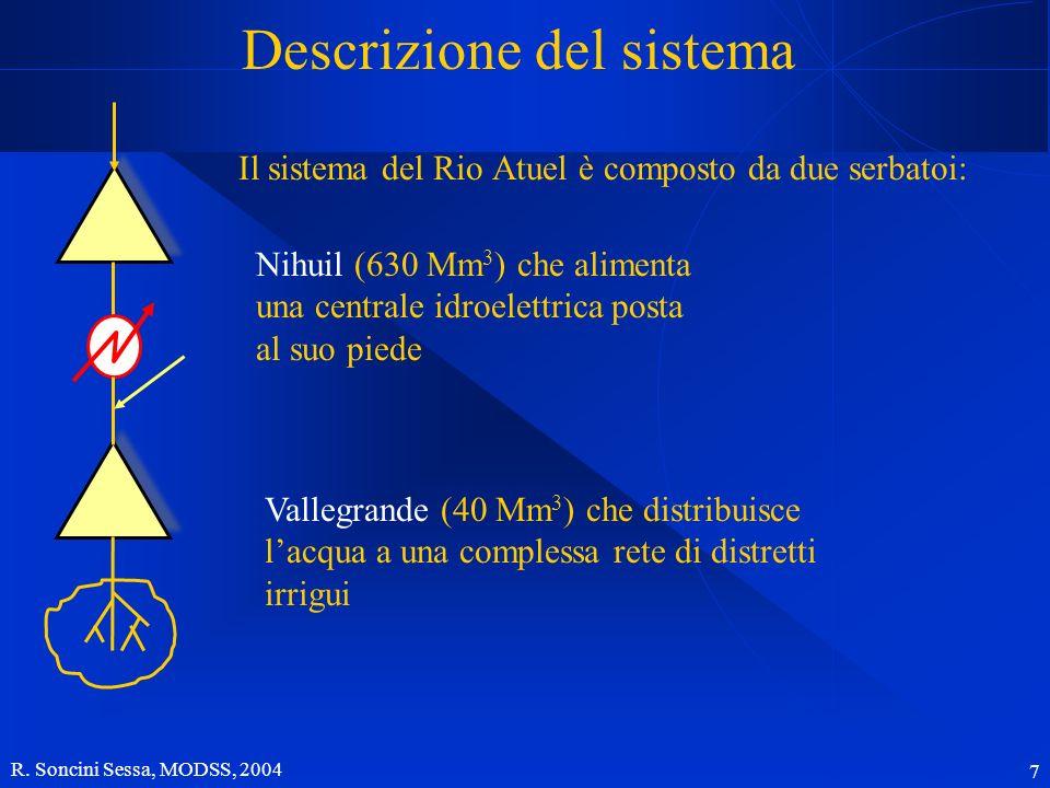 R. Soncini Sessa, MODSS, 2004 7 Descrizione del sistema Il sistema del Rio Atuel è composto da due serbatoi: Nihuil (630 Mm 3 ) che alimenta una centr