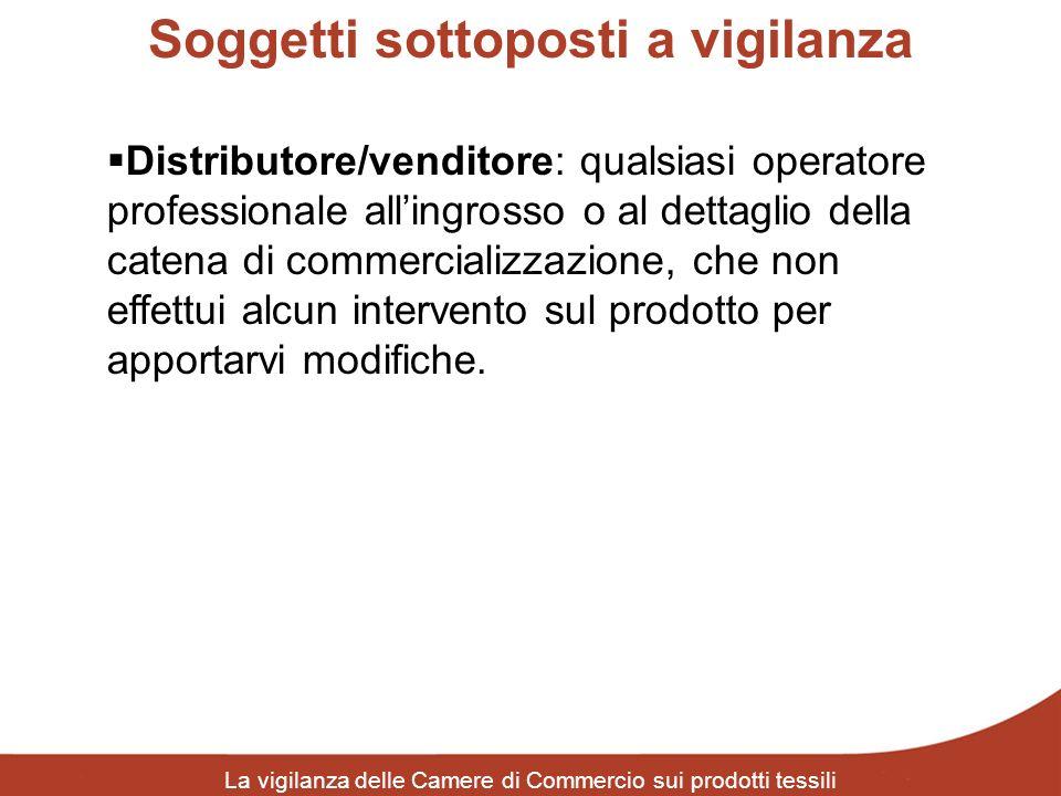 Soggetti sottoposti a vigilanza La vigilanza delle Camere di Commercio sui prodotti tessili Distributore/venditore: qualsiasi operatore professionale