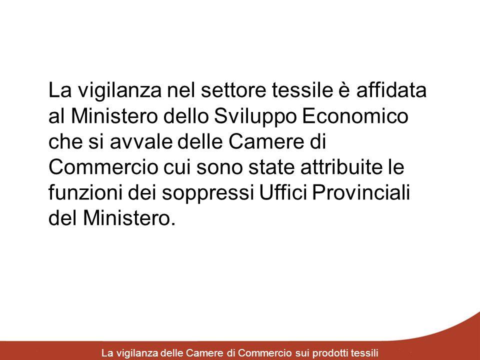 La vigilanza delle Camere di Commercio sui prodotti tessili La vigilanza nel settore tessile è affidata al Ministero dello Sviluppo Economico che si a