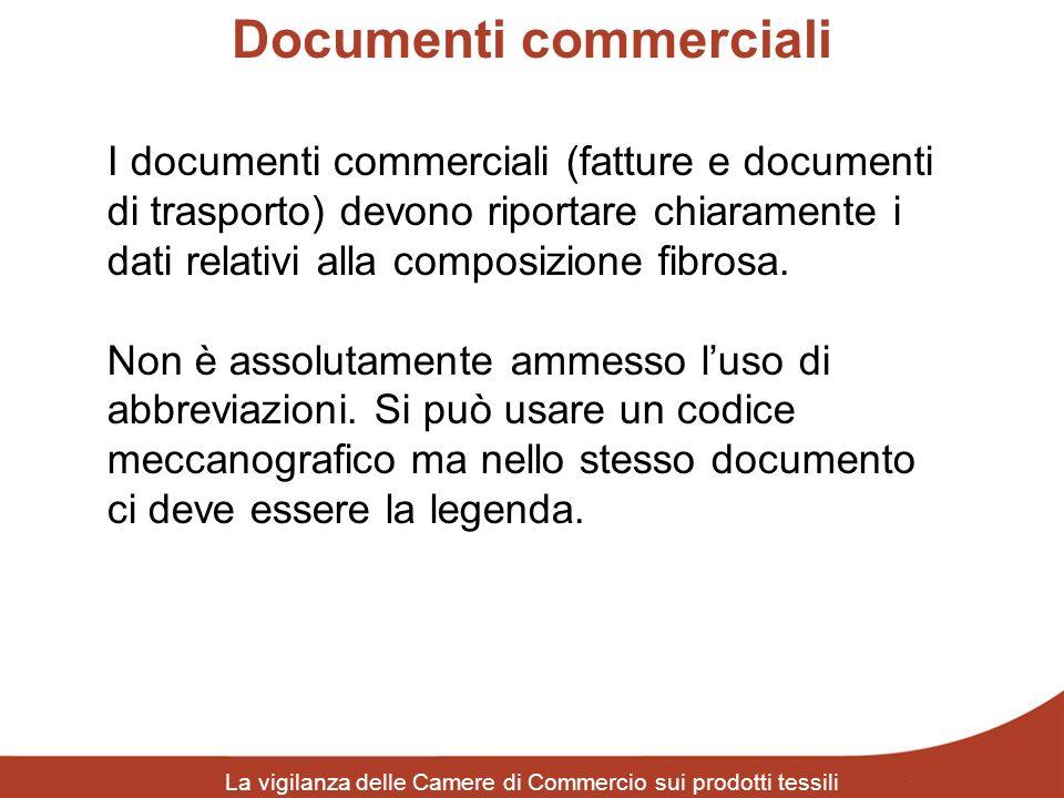 Documenti commerciali La vigilanza delle Camere di Commercio sui prodotti tessili I documenti commerciali (fatture e documenti di trasporto) devono ri