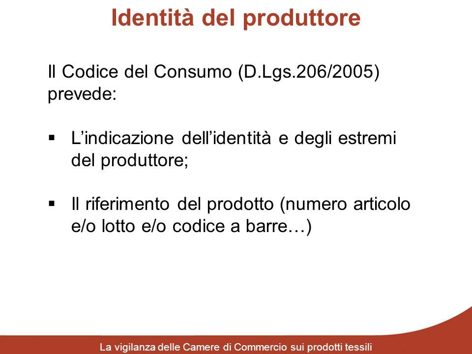 Identità del produttore La vigilanza delle Camere di Commercio sui prodotti tessili Il Codice del Consumo (D.Lgs.206/2005) prevede: Lindicazione delli