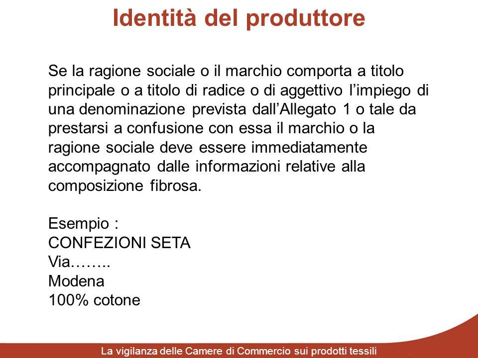 Identità del produttore La vigilanza delle Camere di Commercio sui prodotti tessili Se la ragione sociale o il marchio comporta a titolo principale o