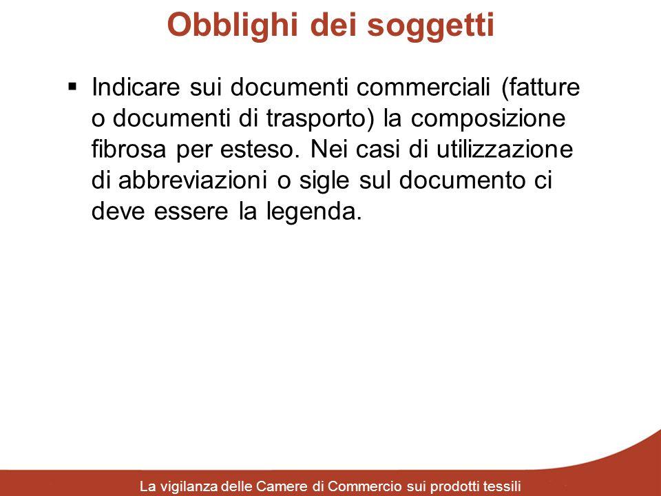 Obblighi dei soggetti La vigilanza delle Camere di Commercio sui prodotti tessili Indicare sui documenti commerciali (fatture o documenti di trasporto