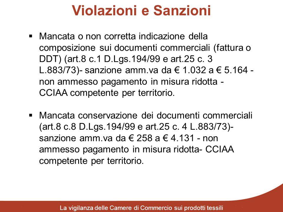 Violazioni e Sanzioni La vigilanza delle Camere di Commercio sui prodotti tessili Mancata o non corretta indicazione della composizione sui documenti
