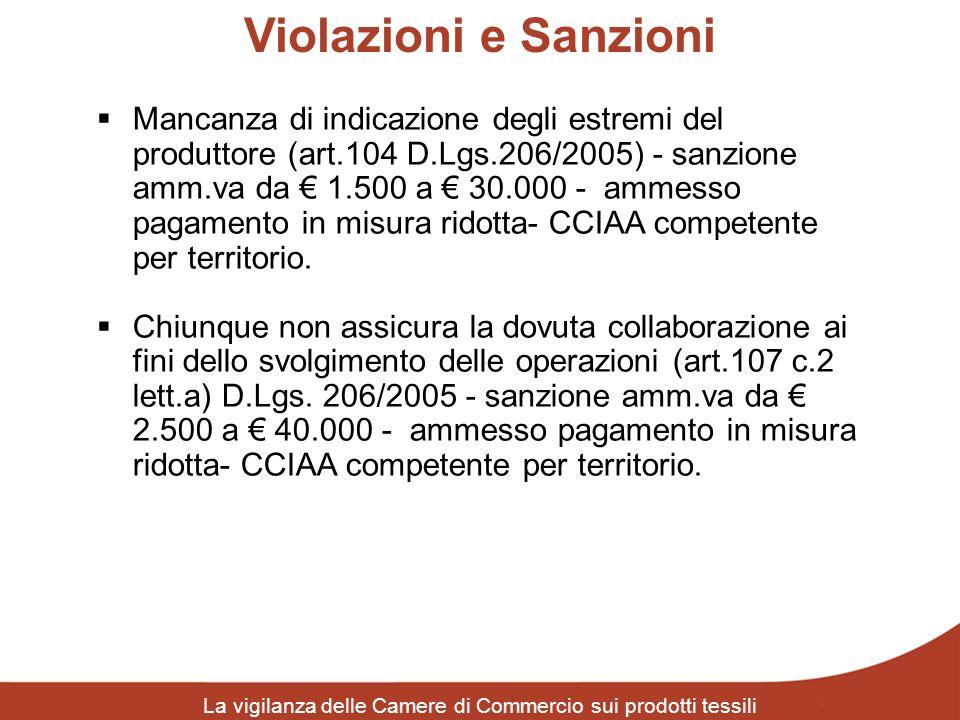 Violazioni e Sanzioni La vigilanza delle Camere di Commercio sui prodotti tessili Mancanza di indicazione degli estremi del produttore (art.104 D.Lgs.