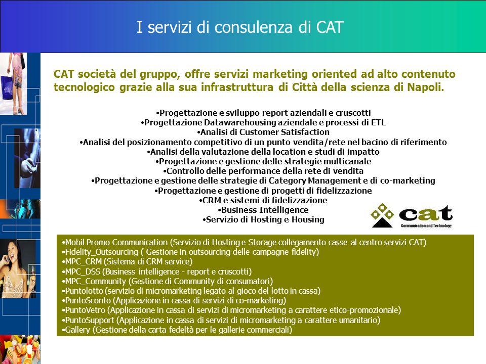 I servizi di consulenza di CAT CAT società del gruppo, offre servizi marketing oriented ad alto contenuto tecnologico grazie alla sua infrastruttura d