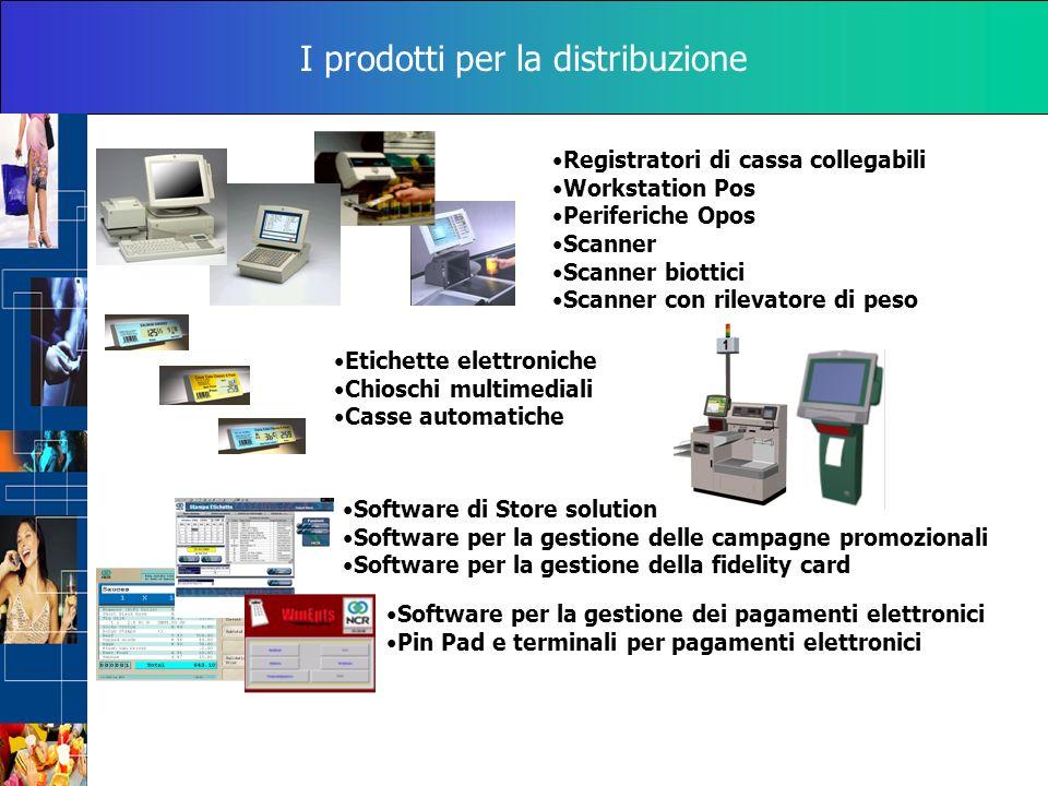 I prodotti per la distribuzione Registratori di cassa collegabili Workstation Pos Periferiche Opos Scanner Scanner biottici Scanner con rilevatore di