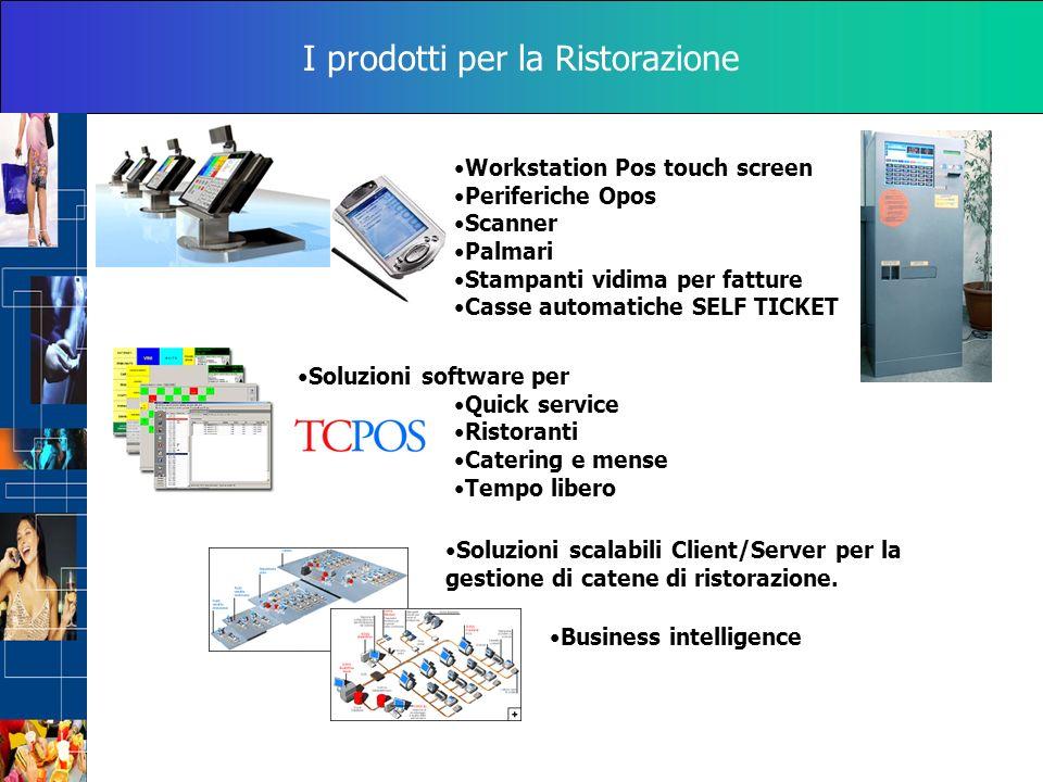 I prodotti per la Ristorazione Workstation Pos touch screen Periferiche Opos Scanner Palmari Stampanti vidima per fatture Casse automatiche SELF TICKE