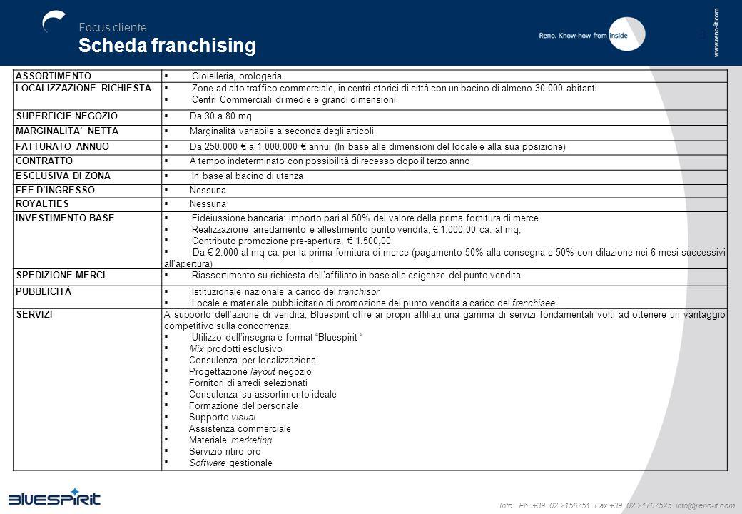 3 Focus cliente Scheda franchising Info: Ph. +39 02.2156751 Fax +39 02.21767525 info@reno-it.com ASSORTIMENTO Gioielleria, orologeria LOCALIZZAZIONE R