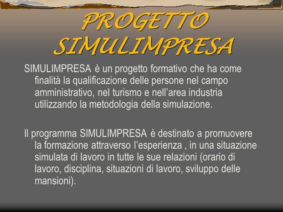 PROGETTO SIMULIMPRESA SIMULIMPRESA è un progetto formativo che ha come finalità la qualificazione delle persone nel campo amministrativo, nel turismo e nellarea industria utilizzando la metodologia della simulazione.